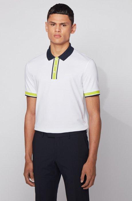 Poloshirt aus Baumwolle mit Kontrast-Details, Weiß