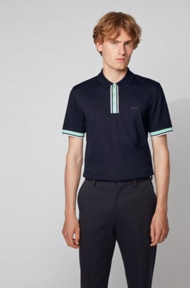 Slim-fit polo shirt in cotton with contrast trims, Dark Blue