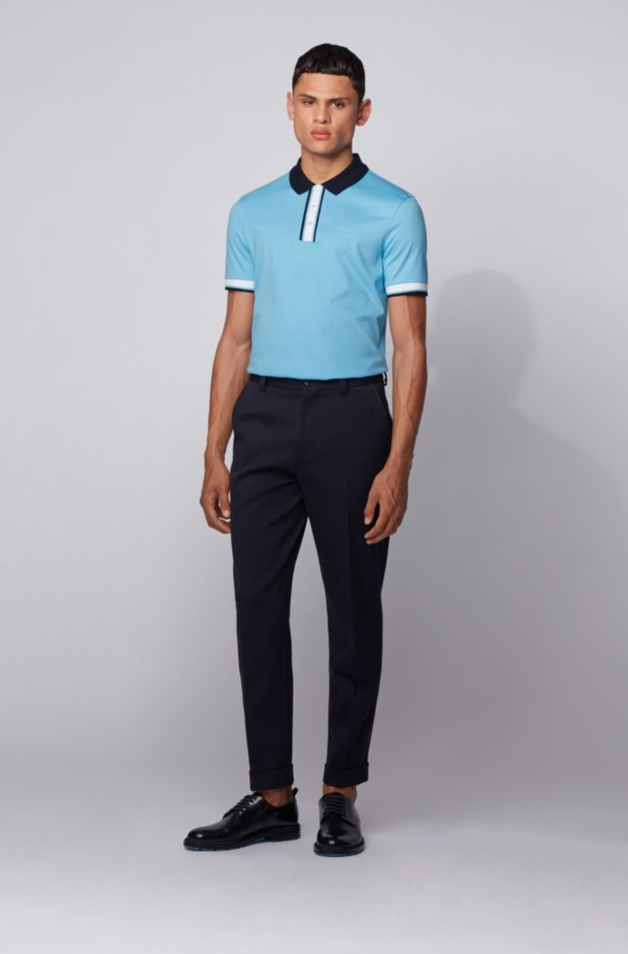 Slim-fit polo shirt in cotton with contrast trims