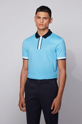 Slim-fit polo shirt in cotton with contrast trims, Turquoise
