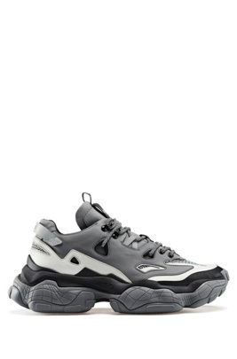 Hybrid trainers with chunky sole and reflective trim, Light Grey