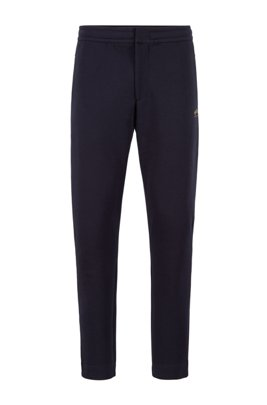 Cotton-blend jersey trousers with collection-themed branding, Dark Blue