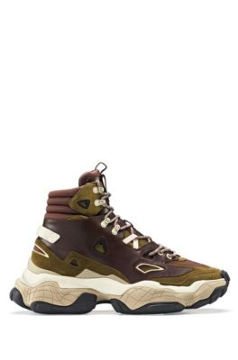 High-top trainers with hybrid uppers and chunky sole, Light Brown