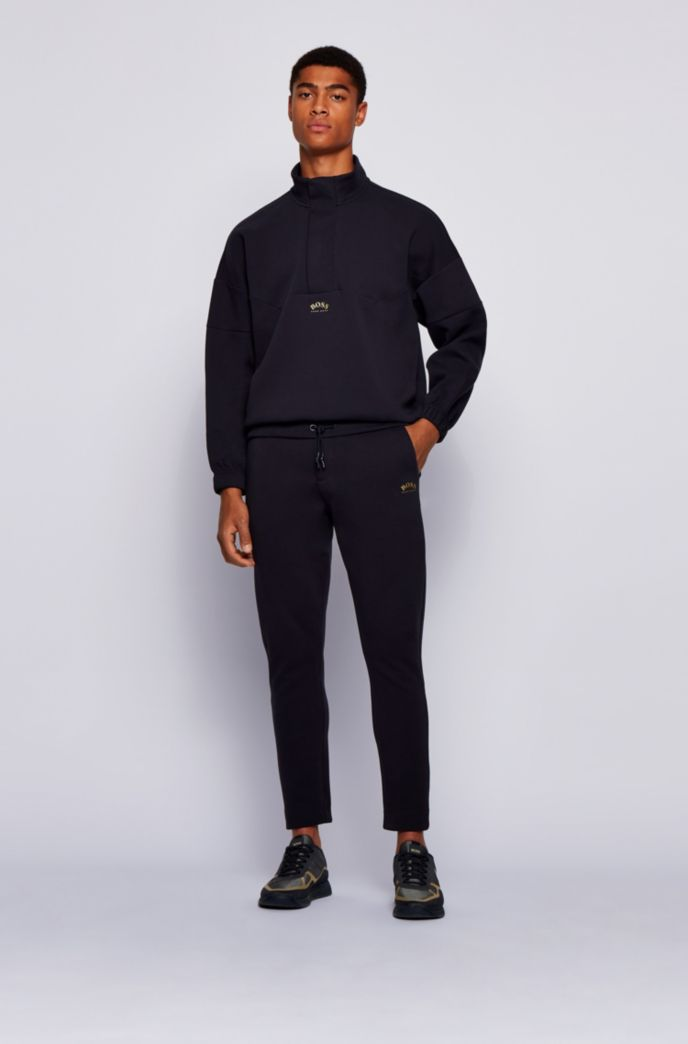 Relaxed-fit cotton-blend sweatshirt with concealed zip neck
