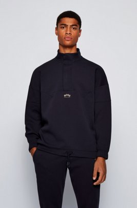 Relaxed-fit cotton-blend sweatshirt with concealed zip neck, Dark Blue