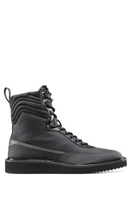 High-top trainers in ripstop nylon with stitched details, Black