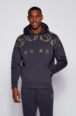 Relaxed-fit hoodie in a super-soft cotton blend, Dark Blue