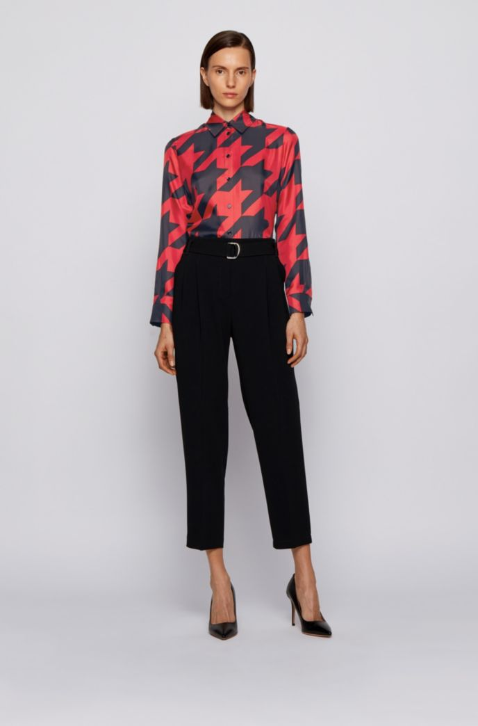 Regular-fit blouse in houndstooth-print silk twill