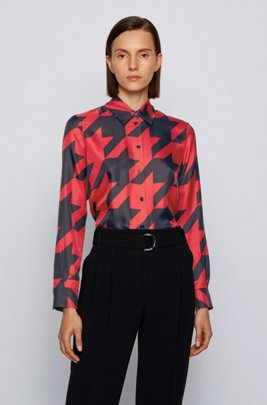 Regular-fit blouse in houndstooth-print silk twill, Patterned