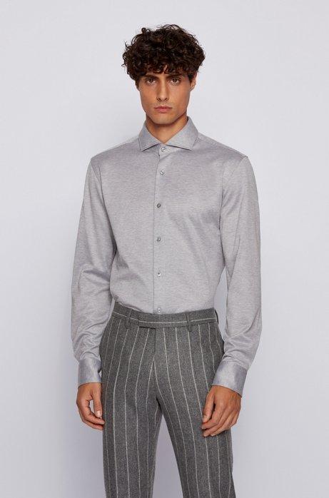 Slim-fit shirt in melange natural-stretch cotton, Silver