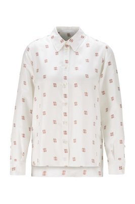 Regular-fit blouse in monogram-print silk twill, Patterned