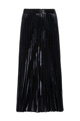 Velvet and glitter-effect midi skirt with plissé pleats, Black