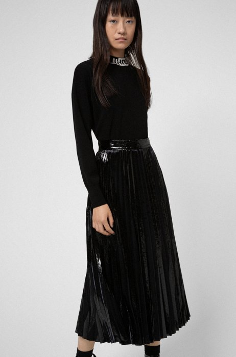 Velvet and glitter-effect midi skirt with plissé pleats, Black