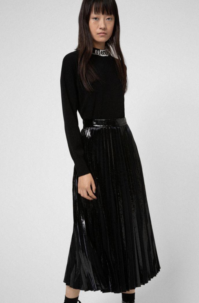Velvet and glitter-effect midi skirt with plissé pleats