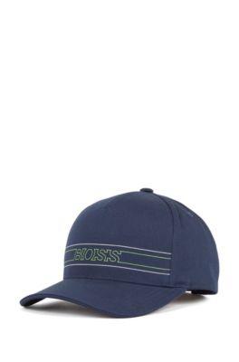 Logo-Cap aus strukturiertem Baumwoll-Mix, Dunkelblau