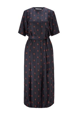 Shirt dress in silk with all-over monogram print, Patterned