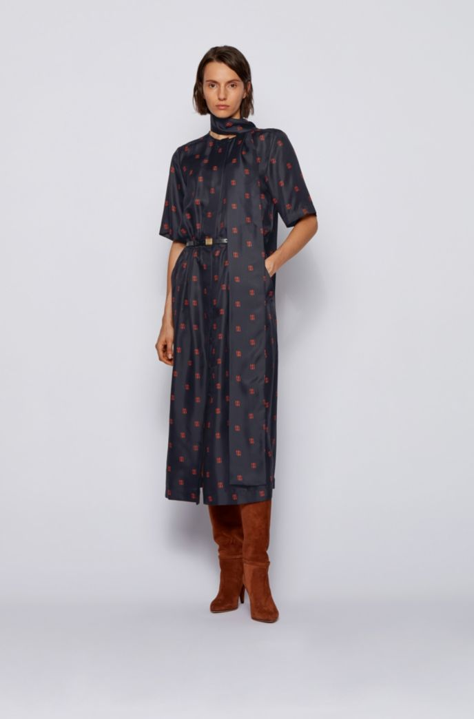 Shirt dress in silk with all-over monogram print