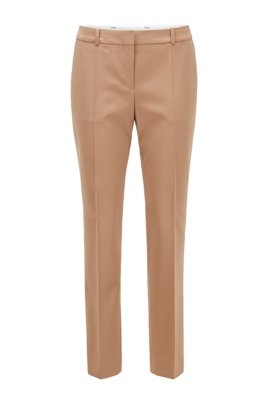 Pantalon Relaxed Fit court en gabardine de laine stretch, Brun chiné