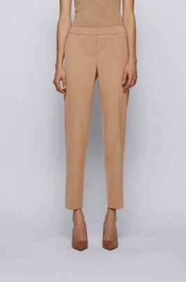 Relaxed-fit cropped trousers in stretch-wool gabardine, Light Brown