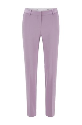 Pantalon Relaxed Fit court en gabardine de laine stretch, Violet clair