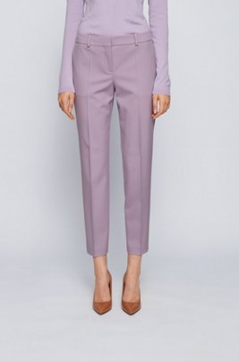 Relaxed-fit cropped trousers in stretch-wool gabardine, Light Purple