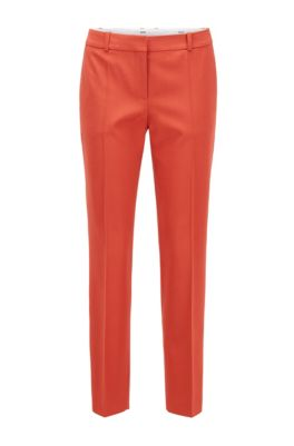 Relaxed-fit cropped trousers in stretch-wool gabardine, Dark Orange