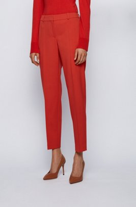 Pantalon Relaxed Fit court en gabardine de laine stretch, Orange foncé