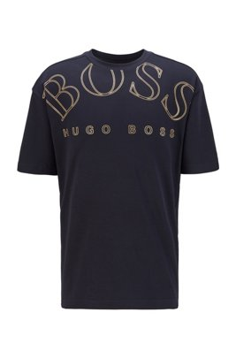 Cotton-interlock relaxed-fit T-shirt with curved-logo print, Dark Blue
