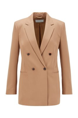 Veste croisée Regular Fit en gabardine stretch italienne, Brun chiné