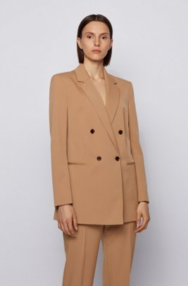 Double-breasted regular-fit jacket in Italian stretch gabardine, Light Brown