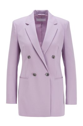 Double-breasted regular-fit jacket in Italian stretch gabardine, Light Purple