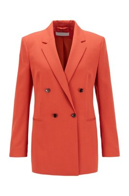 Double-breasted regular-fit jacket in Italian stretch gabardine, Dark Orange