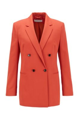 Veste croisée Regular Fit en gabardine stretch italienne, Orange foncé