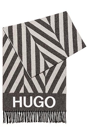 交错条纹图案徽标围巾,  102_天然色