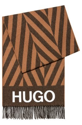 Logo scarf with alternating-stripe pattern, Brown