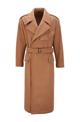Wool-blend formal coat with D-ring belt, Beige