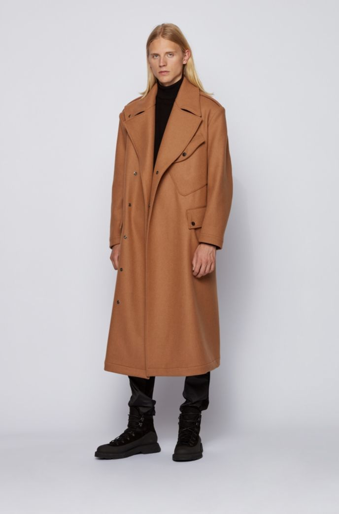Wool-blend formal coat with D-ring belt