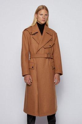 Wool-blend formal coat with D-ring belt, Beige