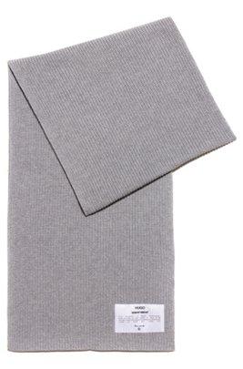 Manifesto-badge scarf in an organic-cotton blend, Grey
