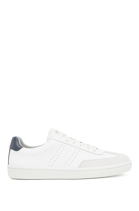 Tennis-style trainers in smooth leather with suede detailing, White