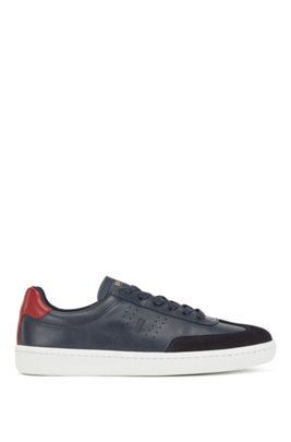Tennis-style trainers in smooth leather with suede detailing, Dark Blue