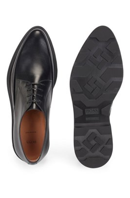 Italian-made Derby shoes in smooth leather, Black