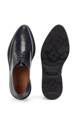 Zapatos Derby fabricados en Italia con piel lisa, Azul oscuro
