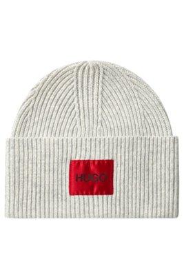 Berretto unisex in misto lana con etichetta con logo, Beige chiaro