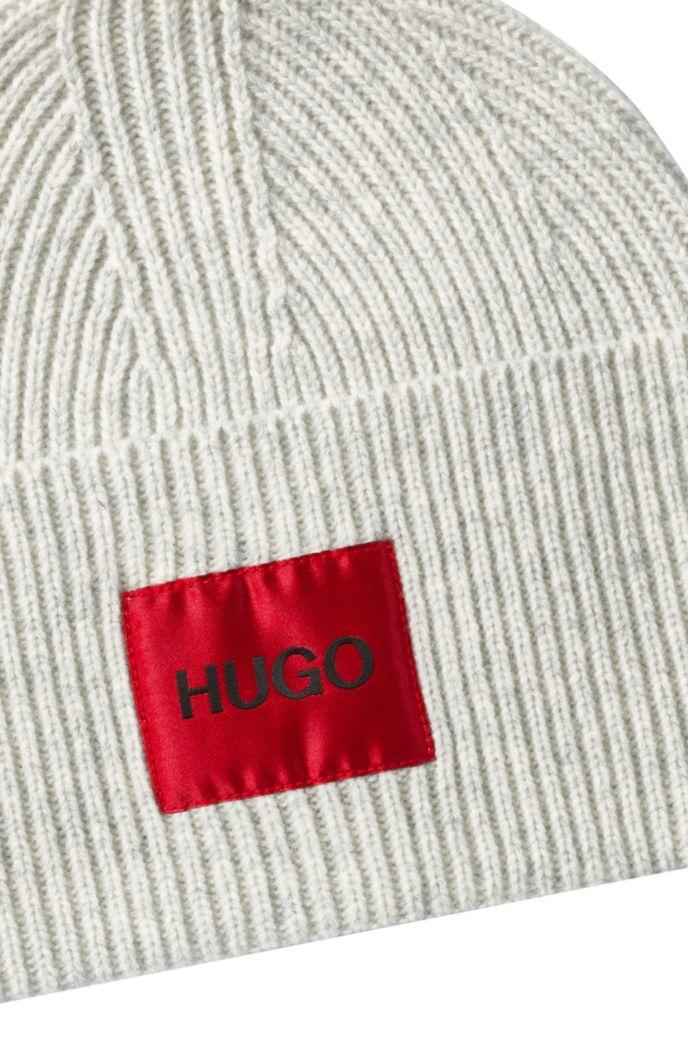 Berretto unisex in misto lana con etichetta con logo