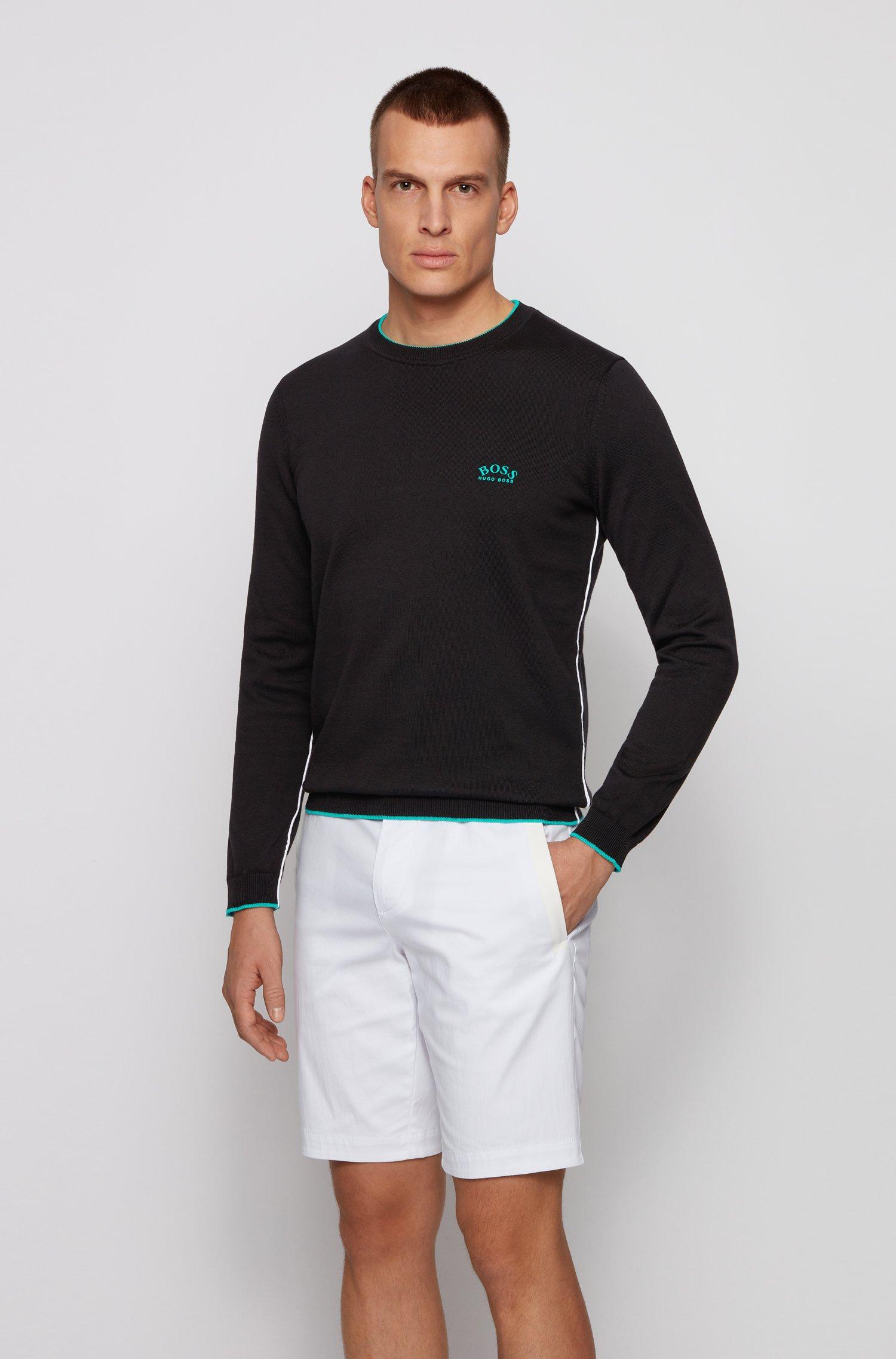 Maglione in cotone biologico con logo curvo a contrasto, Nero
