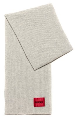 Unisex wool-blend scarf with logo label, Light Beige