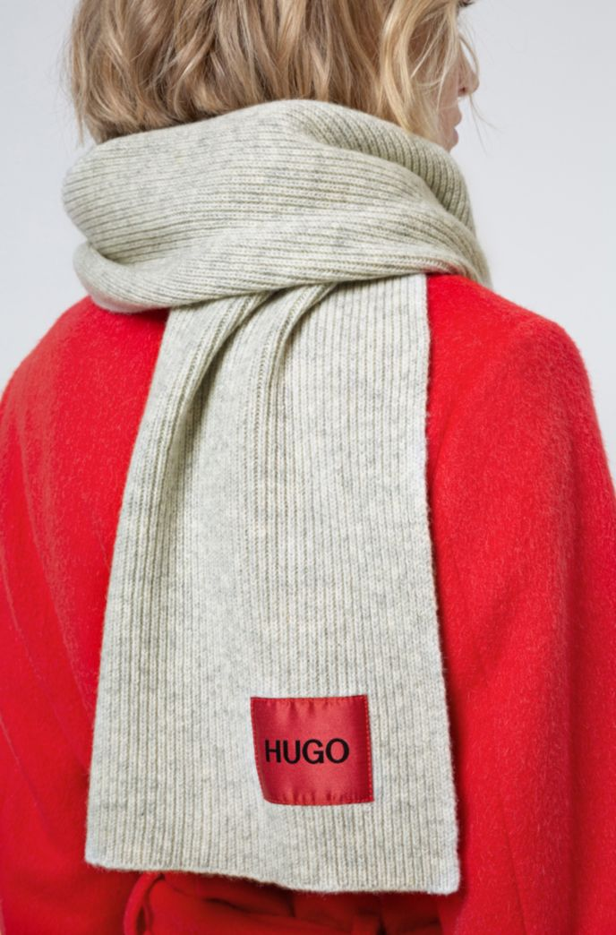 Unisex wool-blend scarf with logo label