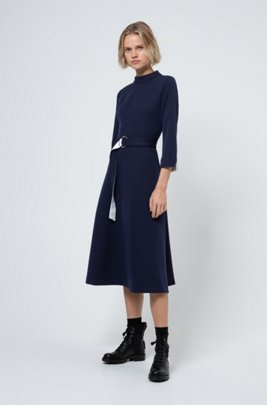 Stretch-jersey dress with polished-metal D-ring belt, Light Blue