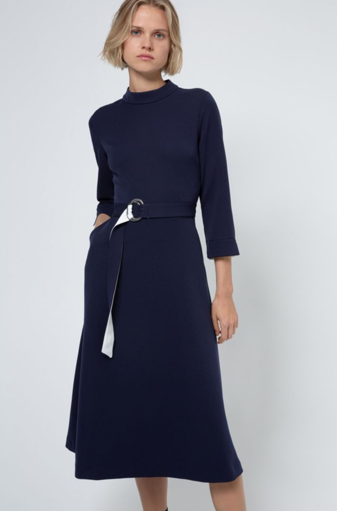 Stretch-jersey dress with polished-metal D-ring belt